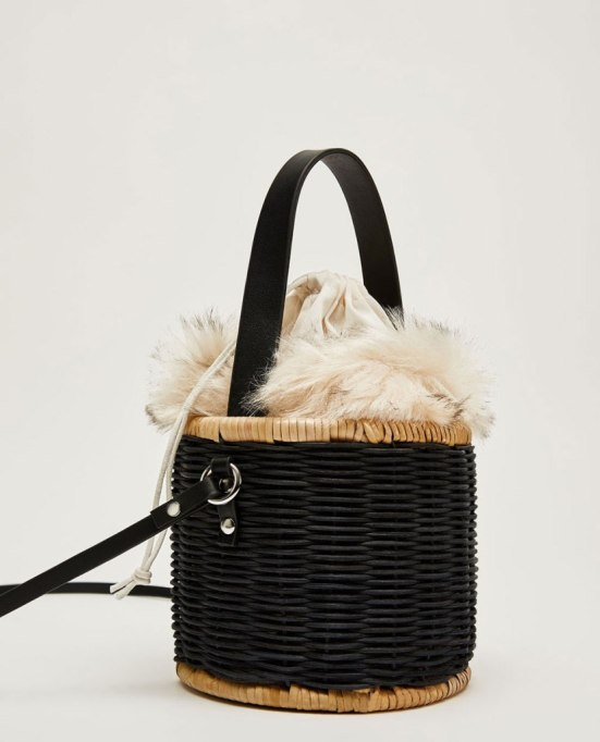 Afforadable Fall Handbags Under $100: Raffia Bag with Faux Fur Interior | Fall Fashion 2017