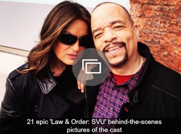 Mariska Hargitay poses with Ice-T behind-the-scenes of SVU