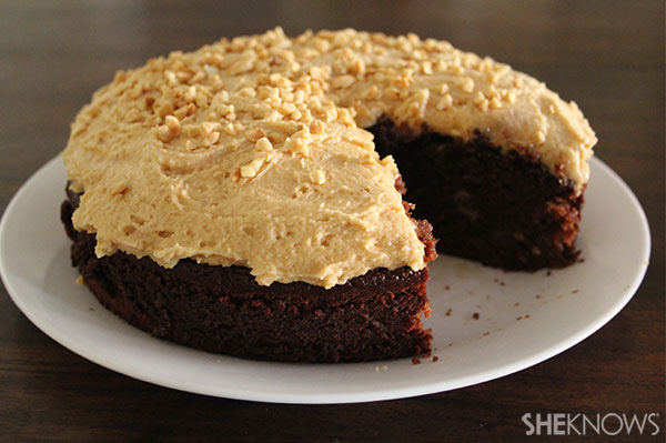 chocolate banana cake with a peanut butter topping