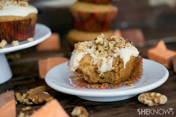 Marshmallow filled sweet potato cupcakes