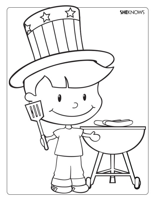 Child grilling coloring page printable