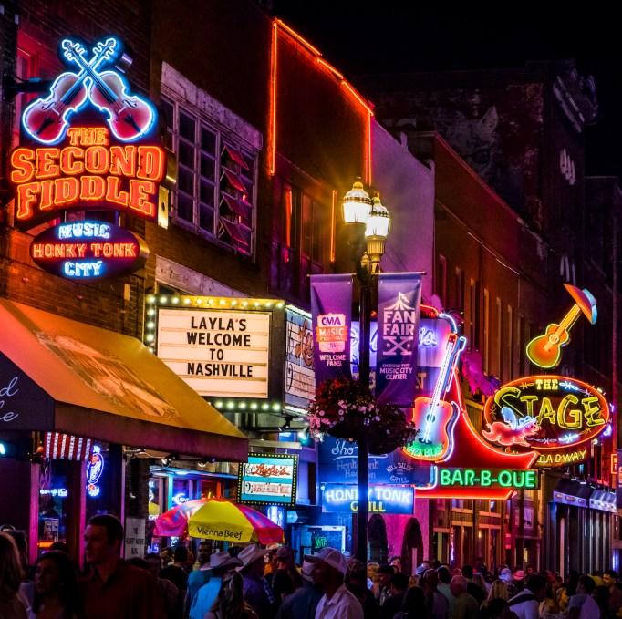 Downtown Nashville, TN at night