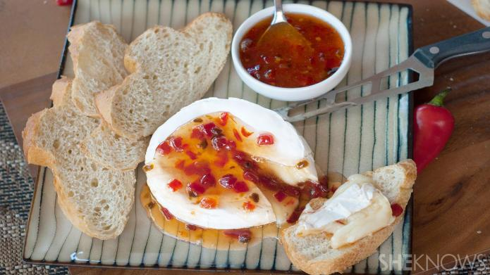 Baked Brie with homemade red pepper