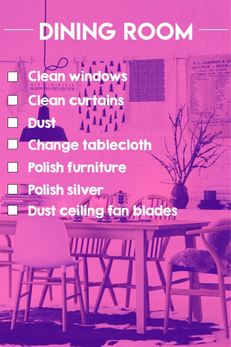 A dining room cleaning checklist