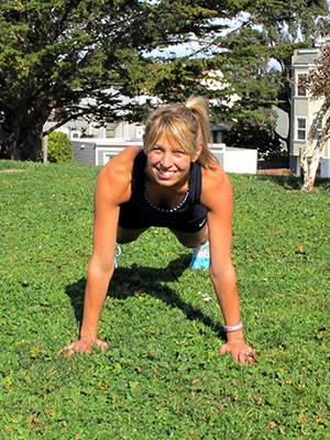 Woman doing t plank