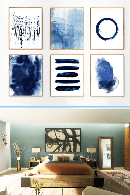 Minimalist Blue Wall Art