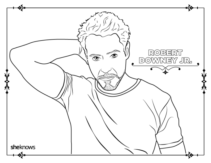 Robert Downey Jr. coloring-book page