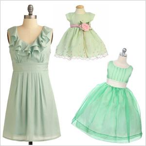 Mint green: Mom & daughter paired