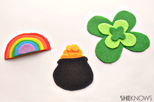 Rainbow, pot of gold and shamrock felt magnets
