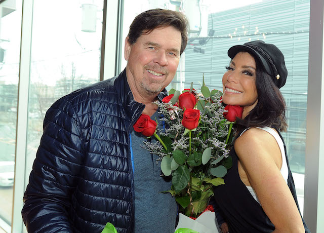 Danielle Staub is surprised with bouquet for Valentines Day by fiancé Marty Caffrey