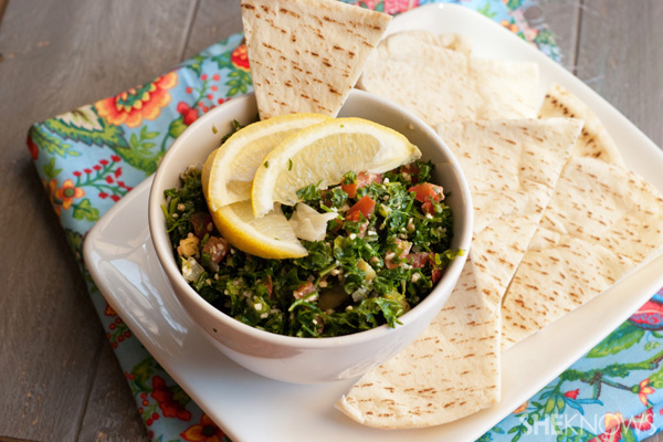 Homemade tabbouleh with quinoa and fresh lemon dressing