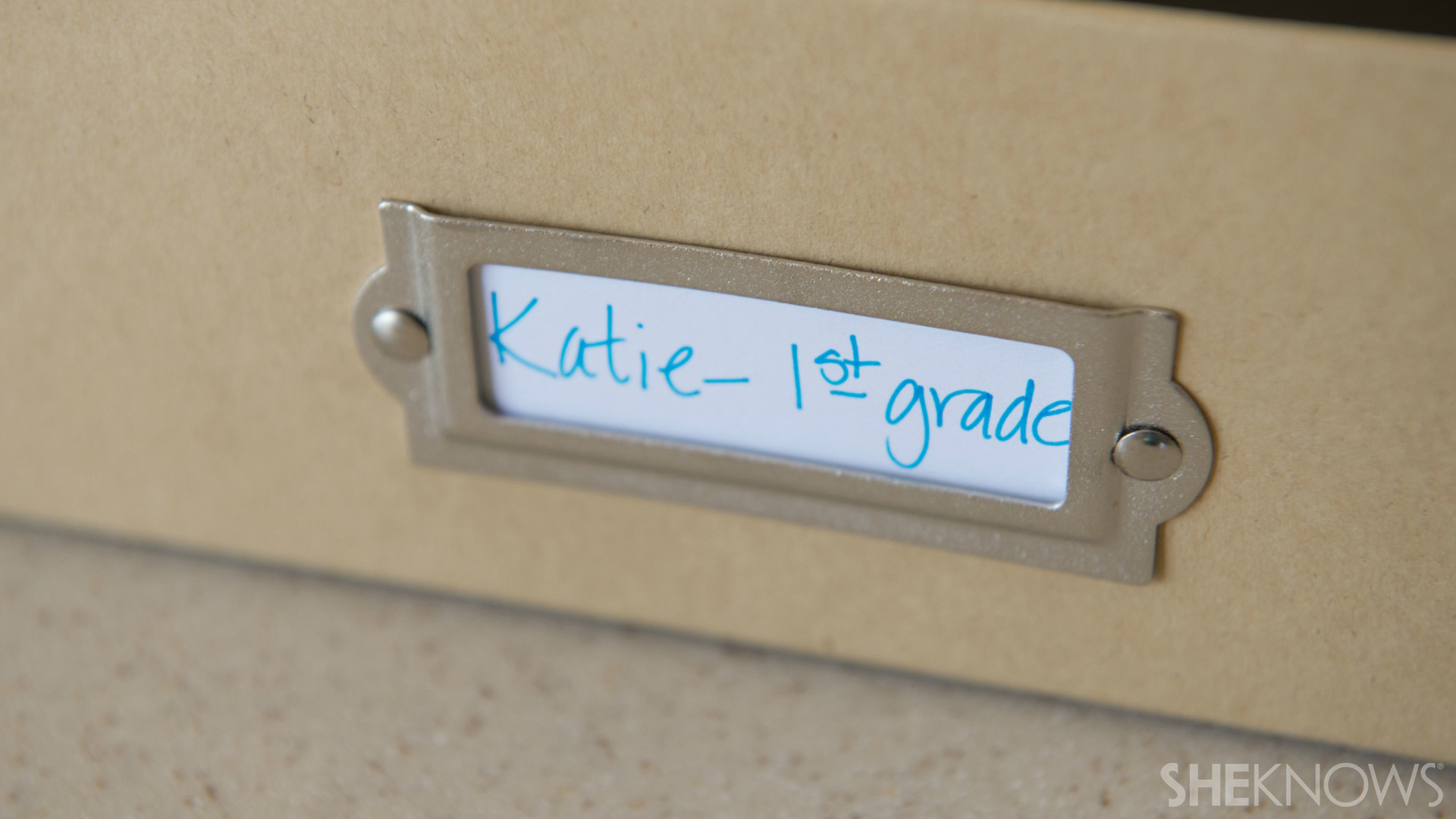 School project storage box | Sheknows.com - tagged with child's name