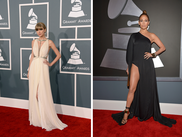 Jennifer Lopez and Taylor Swift at the 2013 Grammy Awards