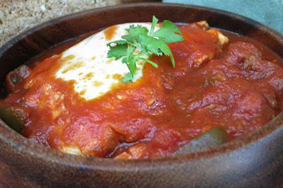 Meaty eggs ranchero: Comfort in a