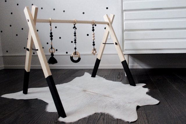 Unique Nursery Decor Black And White Wooden Play Gym