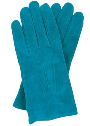 Teal suede gloves