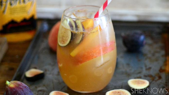 A peach and fig bourbon cocktail