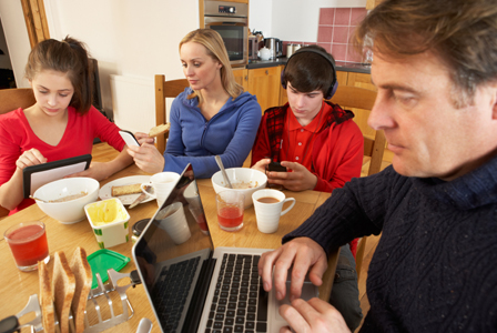 Family distracted by technology