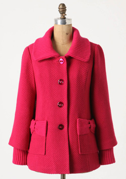candy pink winter coat (Anthropologie, $178).