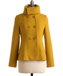 golden yellow winter coat (Mod Cloth, $108)