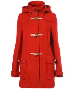 orangey-red wool duffel winter coat (Top Shop, $178)