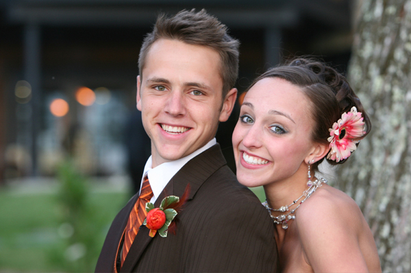 Teen couple at prom