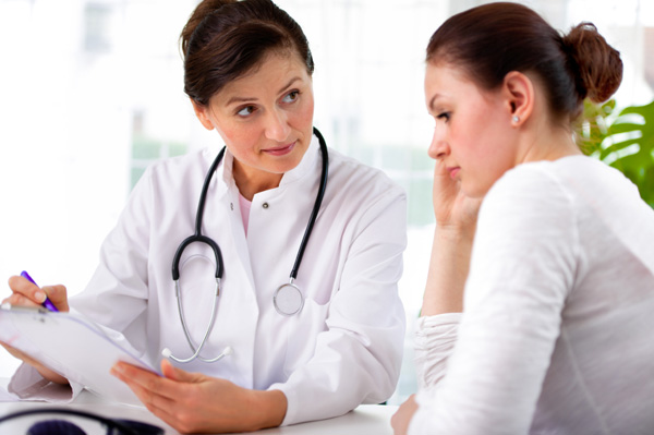 Teen girl at gynecologist