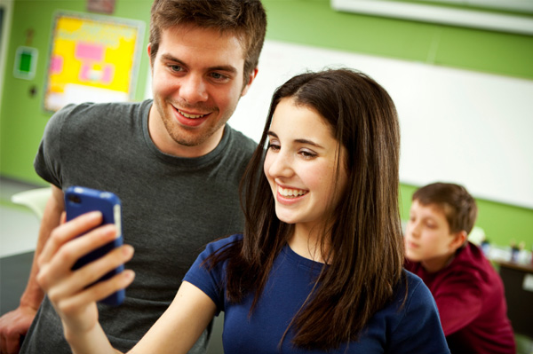 Teen on smartphone