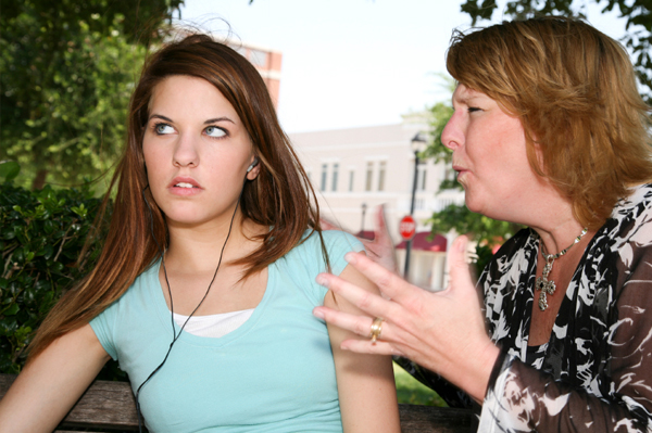 Teenager annoyed at mother