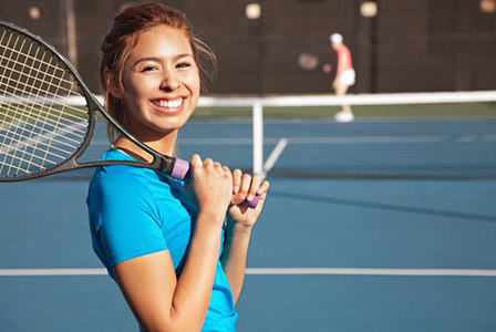 teenager exercising and playing tennis