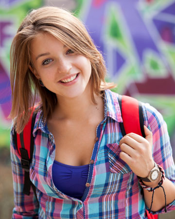 Teenager girl with backpack