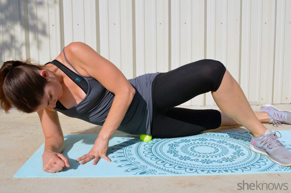 tennis ball hip exercise