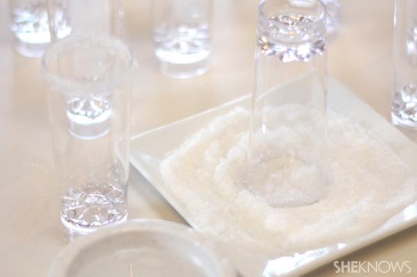 Dip glass in sugar