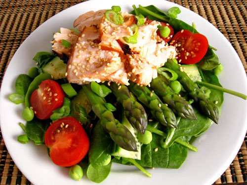 teriyaki, salmon and asparagus spinach salad