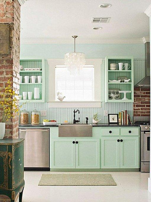 sea foam green cabinets kitchen