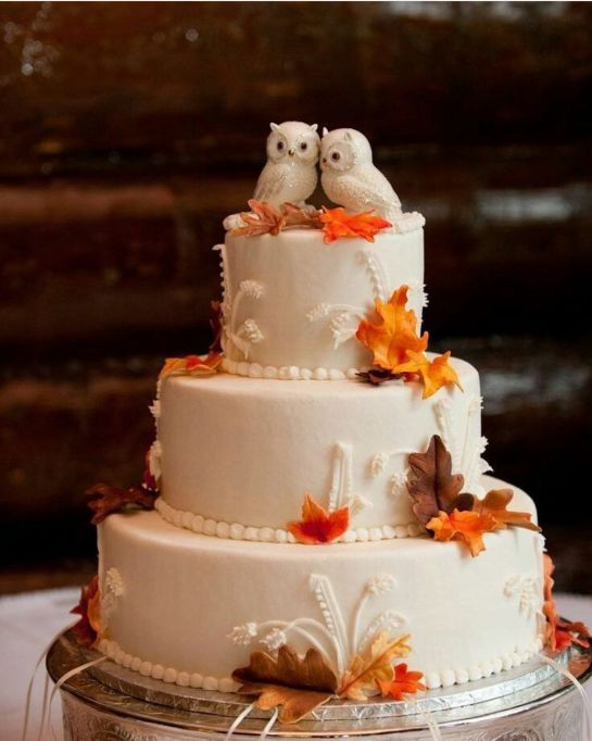 Fall Wedding Cakes: Snowy owls top this cute fall wedding cake