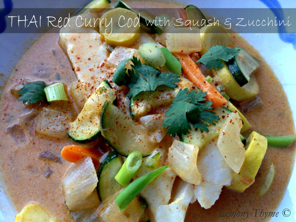 Thai red curry cod with squash and zucchini