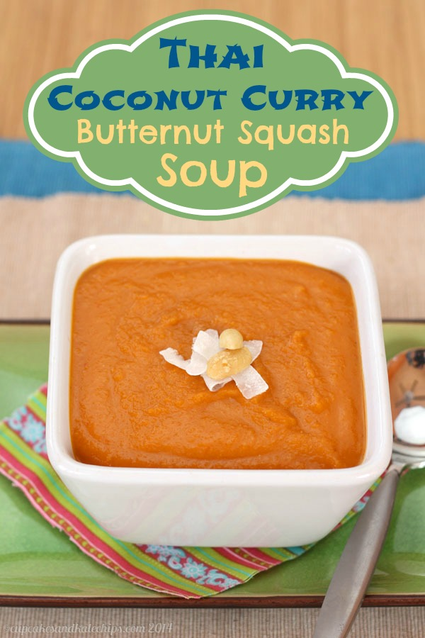 Vegan Thai coconut curry butternut squash soup