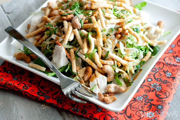 Warm Thai chicken salad with creamy ginger dressing