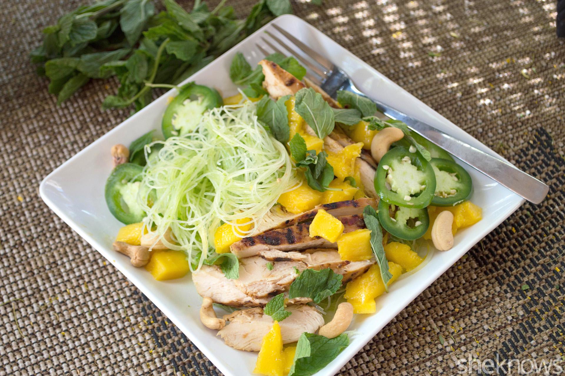 thai mango noodle salad with chicken