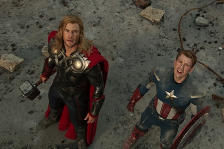Thor and Captain America in The Avengers