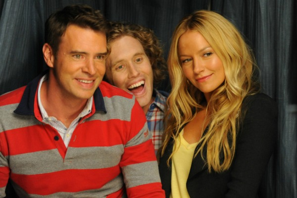 Scott Foley, T.J. Miller and Becki Newton in The Goodwin Games