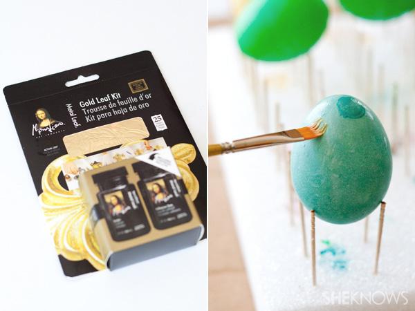 Golden marbled Easter eggs DIY