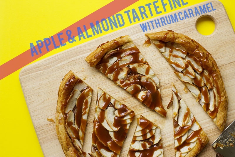 almond apple tarte fine with rum caramel
