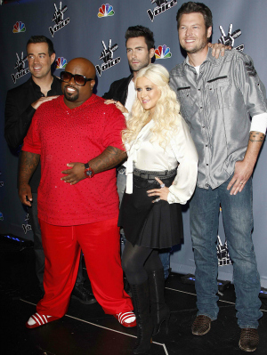 The Voice's Carson Daly, Cee Lo Green, Adam Levine, Christina Aguilera, and Blake Shelton