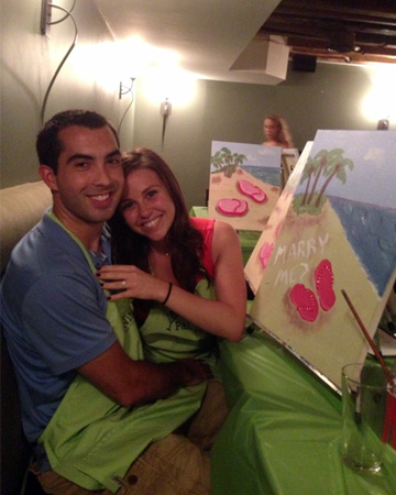 Alex proposes to Kelly at Paint Nite event