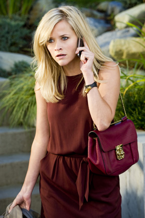 This Means War -- Reese Witherspoon wearing a Theory dress in wine