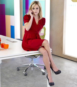 This Means War -- Reese Witherspoon wearing Winter Kate red dress
