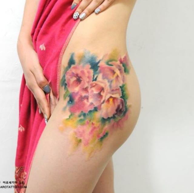 Korean watercolour tattoos