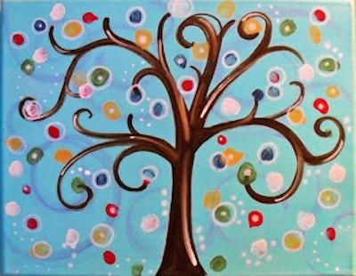 Thumbprint tree painting